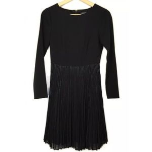 Tahari  Black Pleated Bottom Long Sleeve Dress